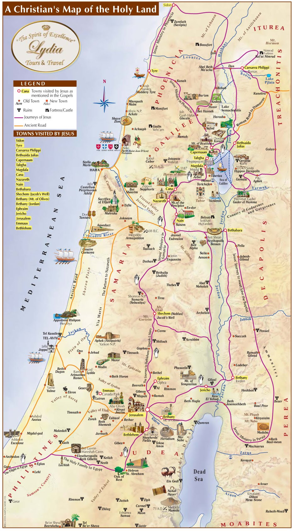 holy land map. holy land map  lydia tours and travel